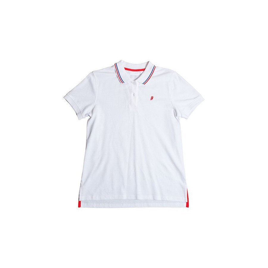 Prince Tennis Clothing – Women's White Red & Blue Club Polo