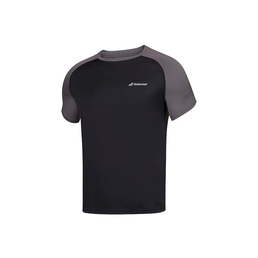 Babolat Men's Play Crew Neck Tennis T-Shirt (Black & Gray)