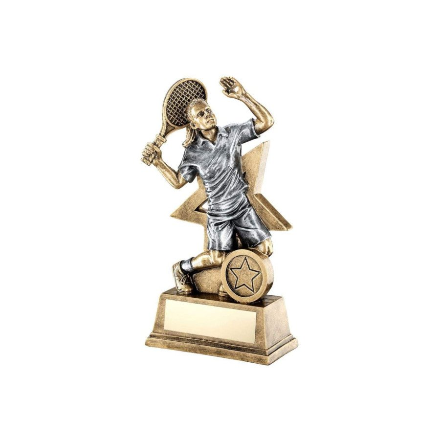 Bronze & Gold Tennis Trophy with Tennis Player Figure (TENNIS GIFTS)