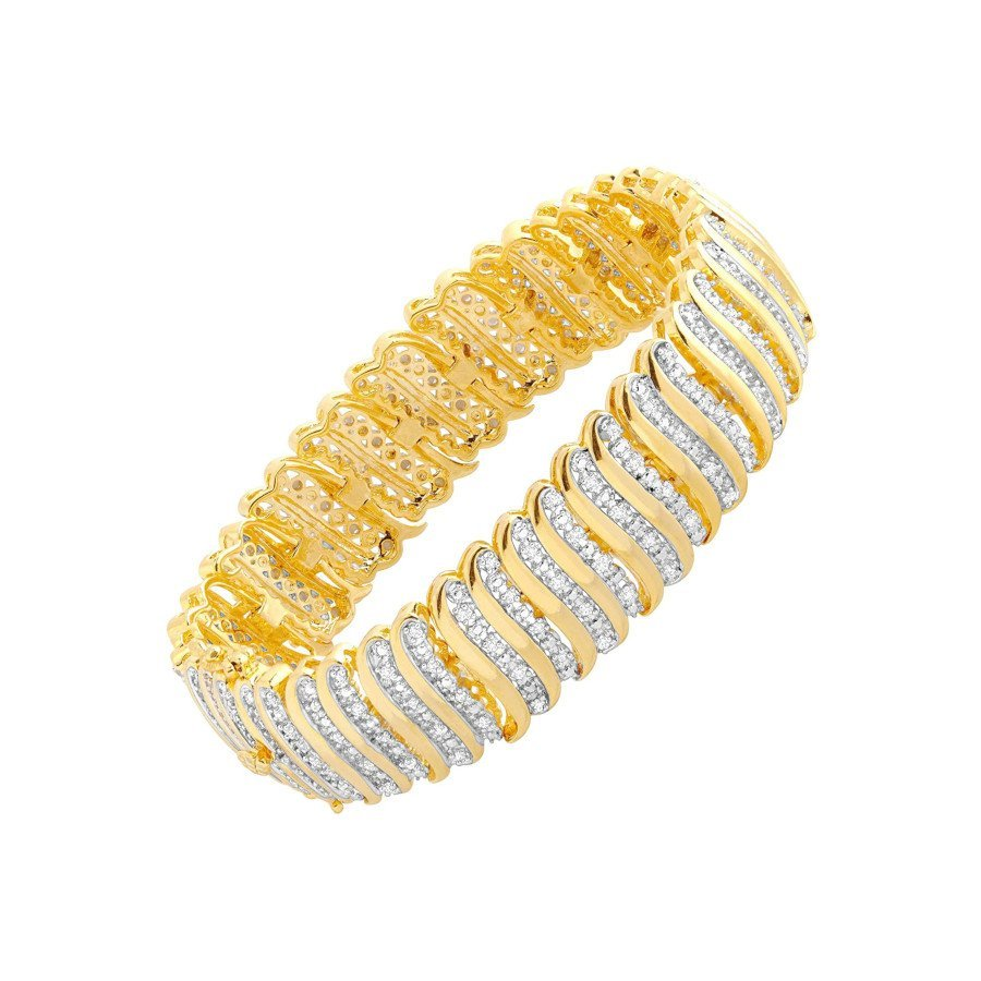 Diamond 'S' Link Tennis Bracelet in 18K Plated Brass