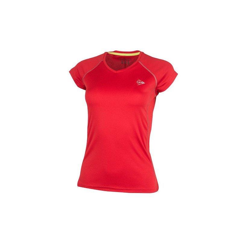 Dunlop WOMEN'S CREW TEE CLUB LINE Tennis T-Shirt (Red)