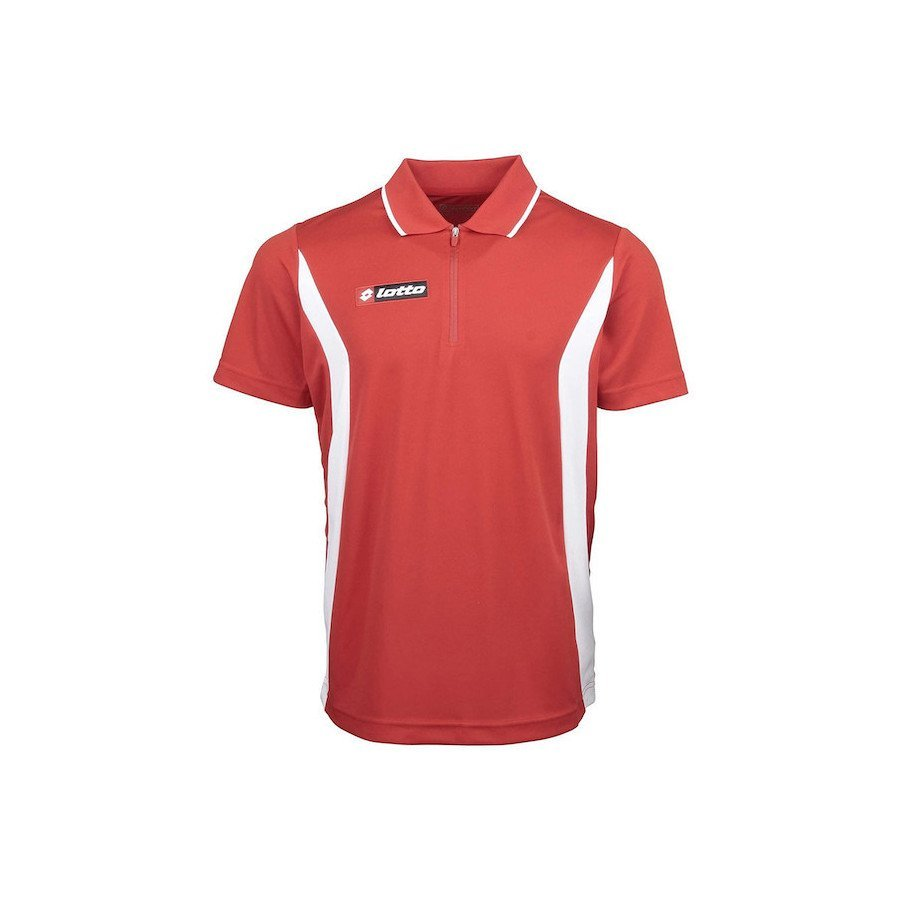 Lotto Men's Lotto Polo Stars HZ Official Tennis Shirt (Flame-Red_and_White)