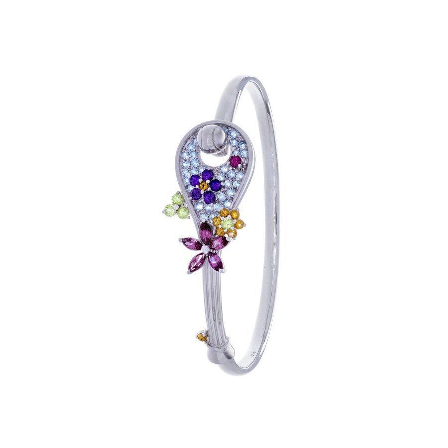 Racket-shaped Tennis Bracelet – 18K White Gold & 58 Gemstones