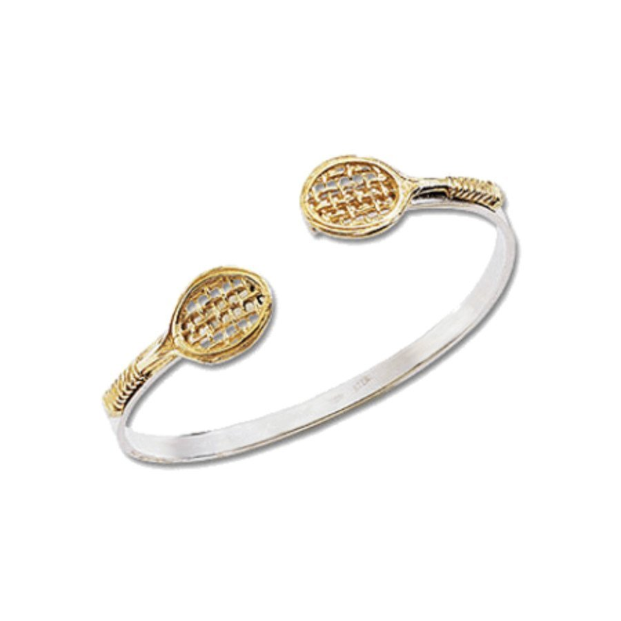 Racket-shaped bangle tennis bracelet in silver with 14K gold rackets