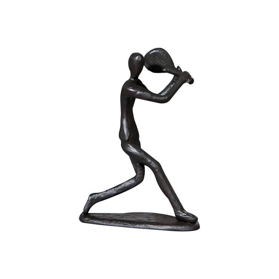 Tennis Player Hitting Backhand Black Figurine Sculpture (TENNIS GIFTS)