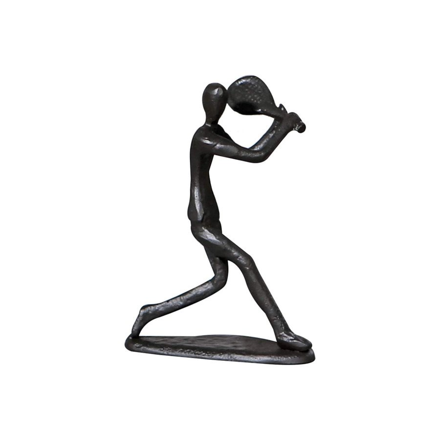 Tennis Player Hitting Backhand Black Figurine Sculpture (tennis art)