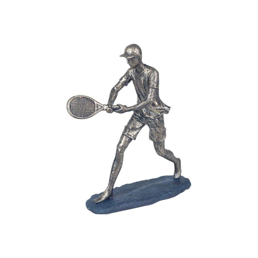 Tennis Player Hitting Backhand Resin Figurine (tennis art)