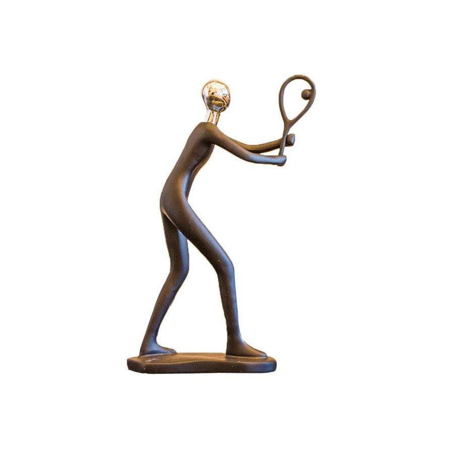 Tennis Player Hitting Backhand Volley Resin Figurine (tennis art)