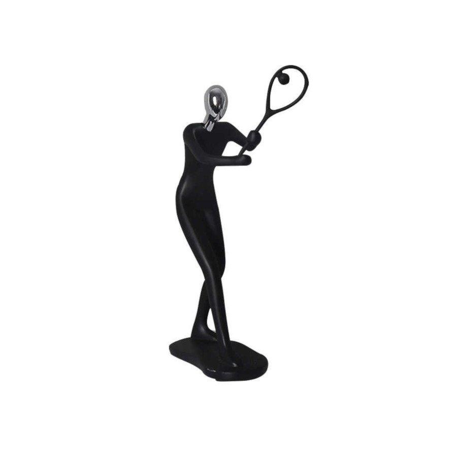 Tennis Player Resin Figurine – Black Color (tennis art)