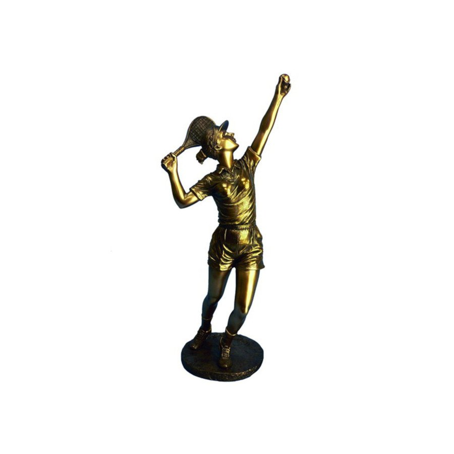 Tennis Player Serving Ball Bronze Resin Statue (tennis art)