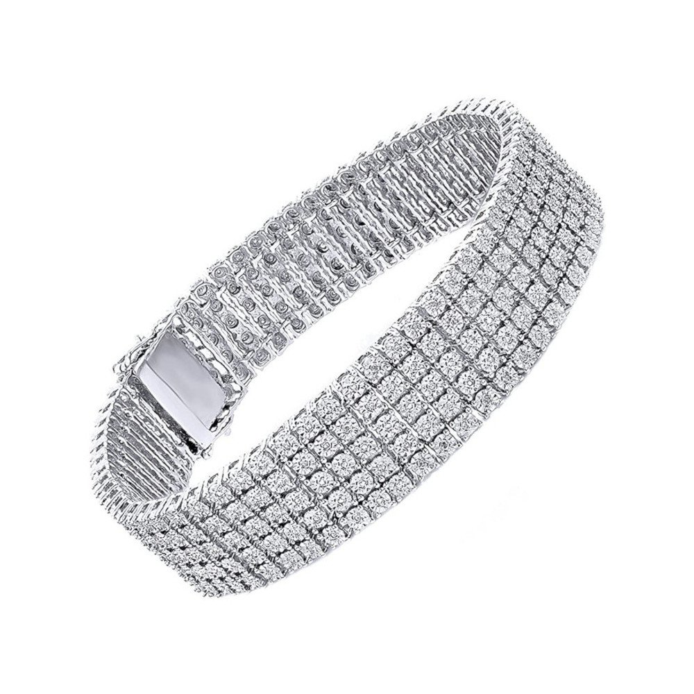 Unisex Tennis Bracelet – Sterling Silver & 5 Rows of Round Diamond