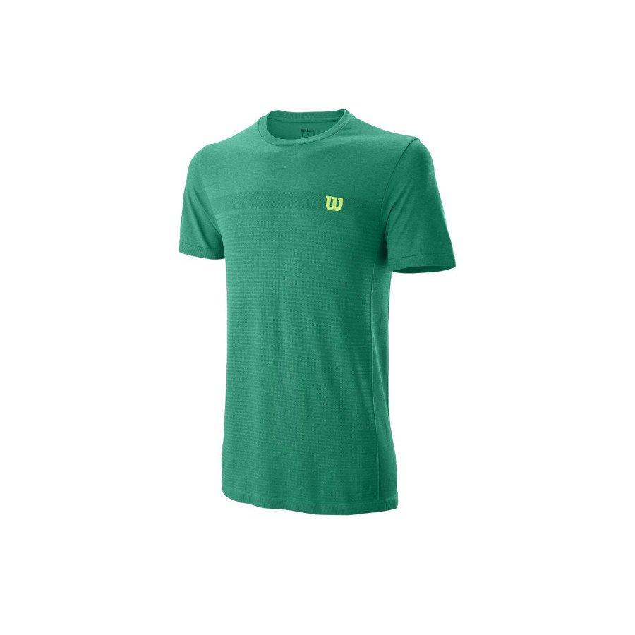 Wilson 2019 Men's Competition Seamless Crew Tennis T-Shirt (green)