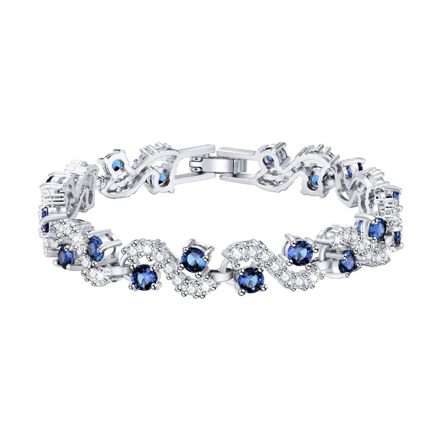 Women's Tennis Bracelet – Blue Cubic Zirconia & 14K Plated Sapphire Bangle Crystal Jewelry
