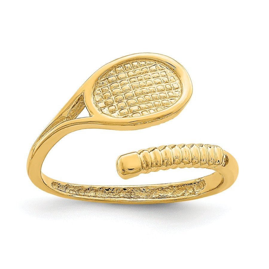 14K Yellow Gold Tennis Racket Toe Ring