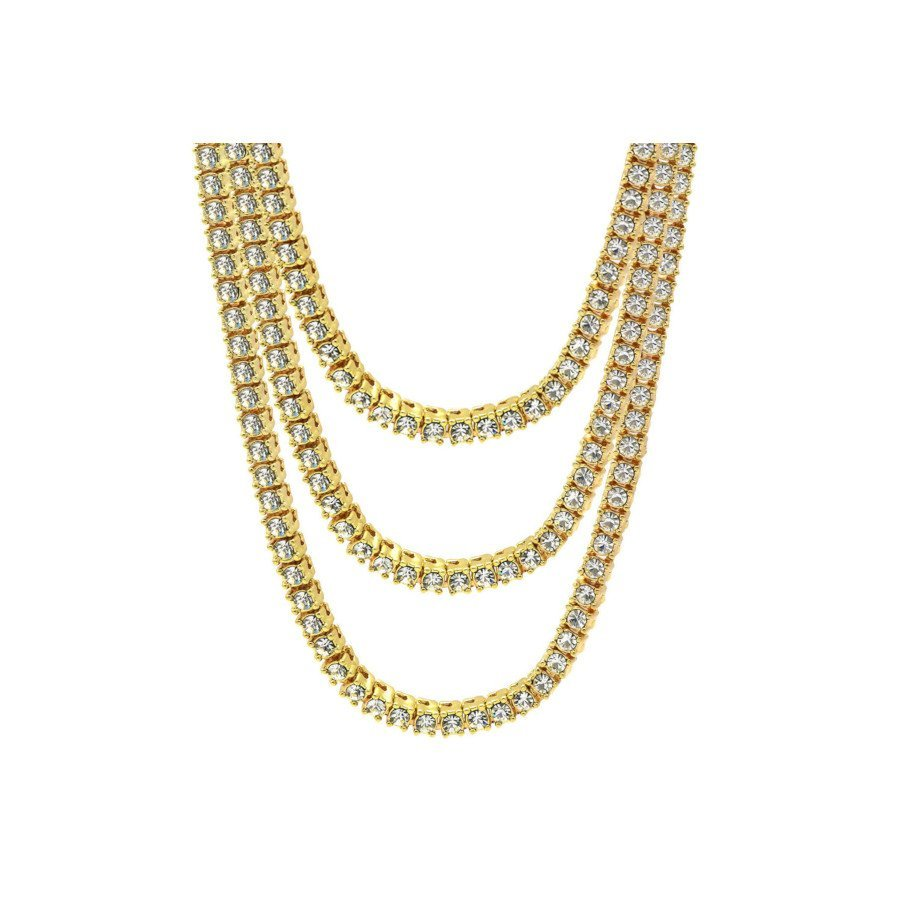 16K Gold-Simulated Clear CZ Ice-Out Men's Tennis Chain