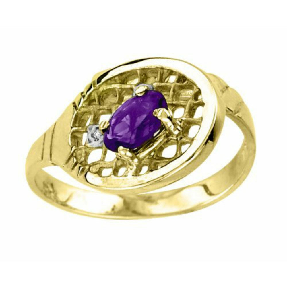 Amethyst & Diamond Tennis Ring – 14K Yellow Gold