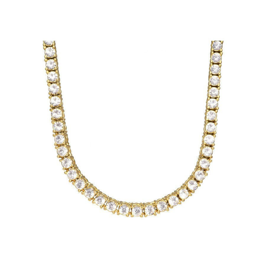 Diamond Tennis Chain Necklace for Men – 18k Gold