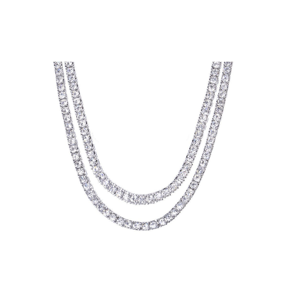 Double Tennis Chain – Silver Toned Iced-Out CZ