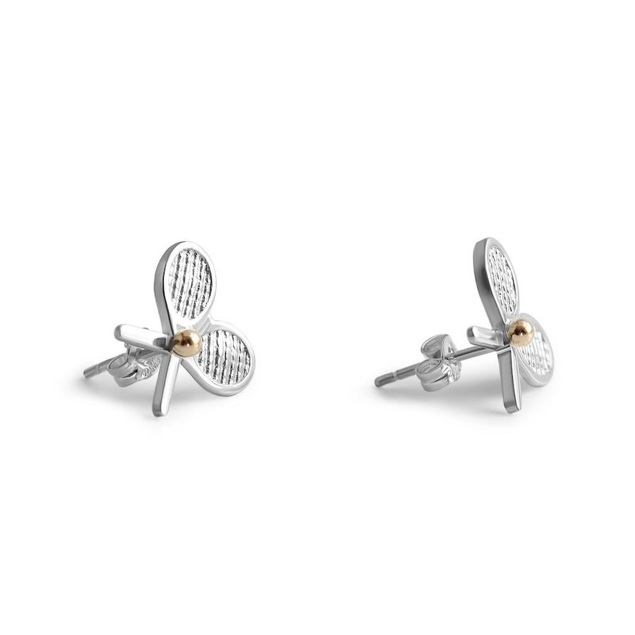 Double-racket silver stud tennis earrings with 14-karat gold tennis ball