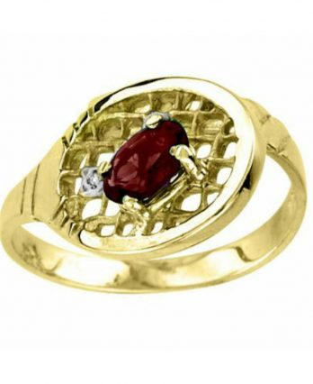 Garnet & Diamond Tennis Ring – 14K Yellow Gold
