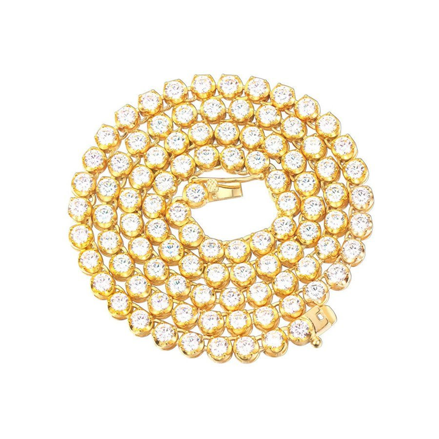Iced Out Lab Diamond Buttercup Tennis Chain for Men – Stainless Steel (18k Gold-Plated)