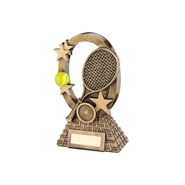Oval Tennis Trophy – brass effect flat oval award with tennis design
