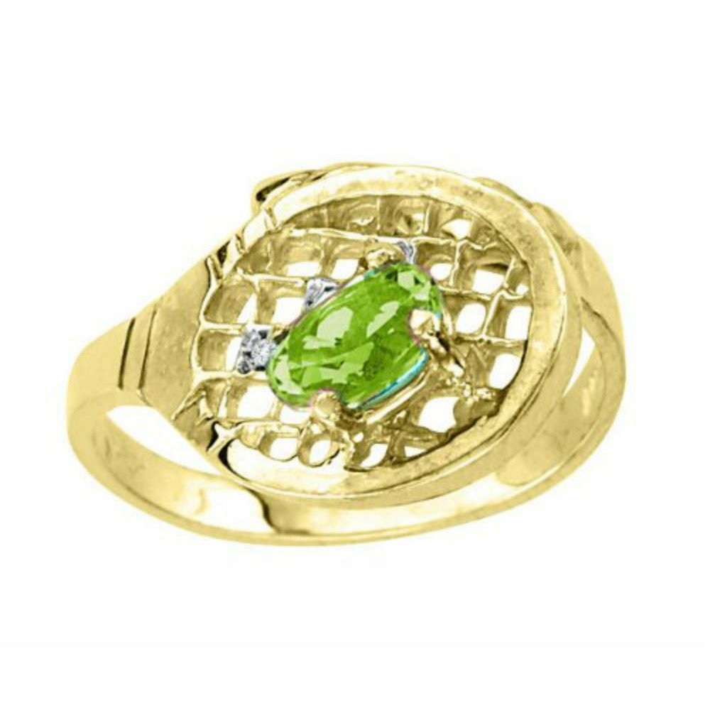 Peridot & Diamond Tennis Ring – 14K Yellow Gold