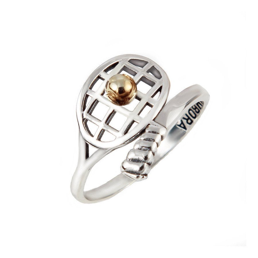 Racket-shaped silver tennis ring with 14K gold tennis ball