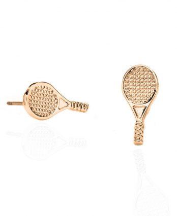 Racket-shaped stud tennis earrings – 14k gold sterling silver