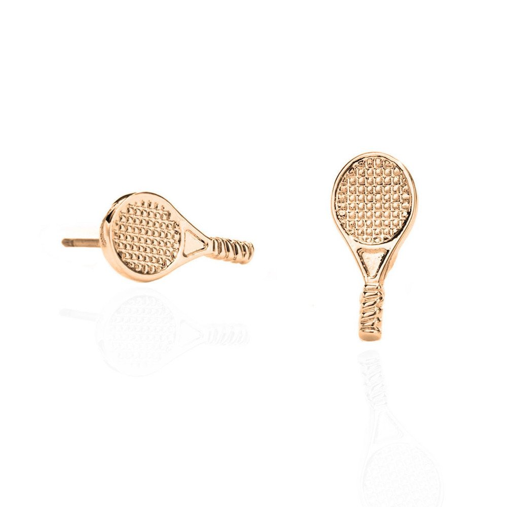 Racket-shaped stud tennis earrings – 14k gold sterling silver