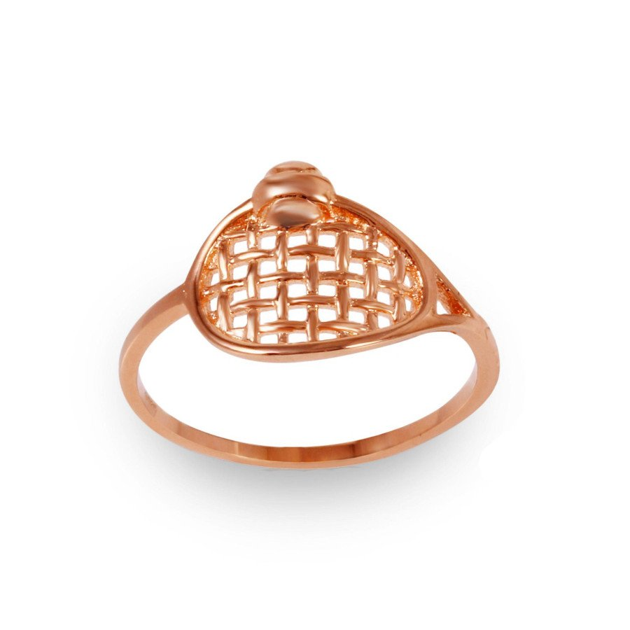 Rhodium-Plated Tennis Ring in Rose Gold