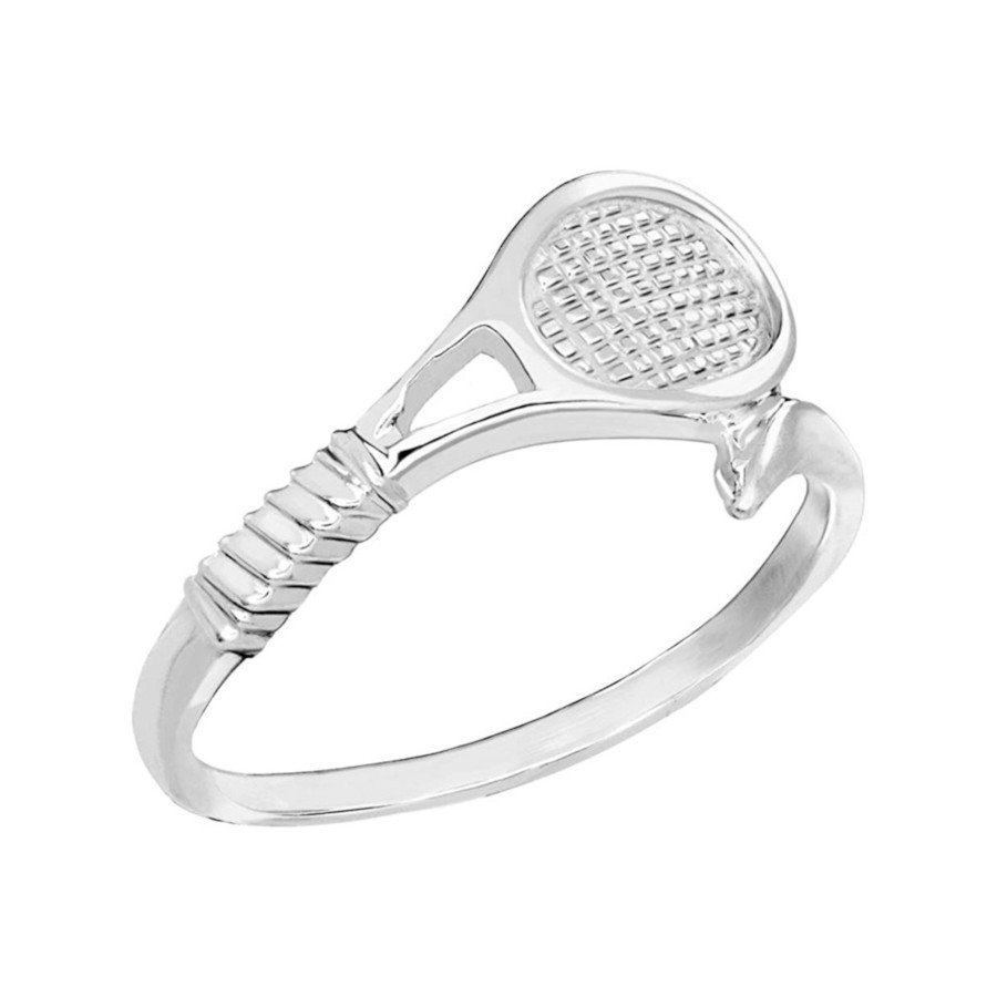 Sterling Silver Tennis Racket Ring