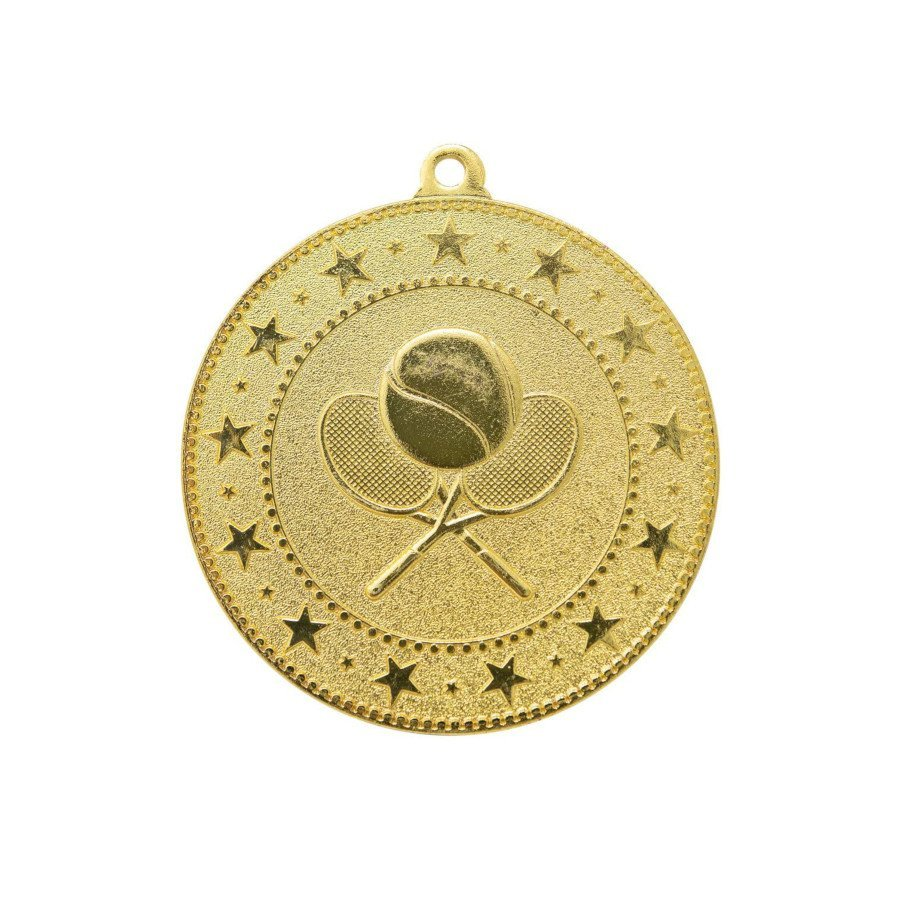 Tennis Gold Medal Trophy Award with Neck Ribbon
