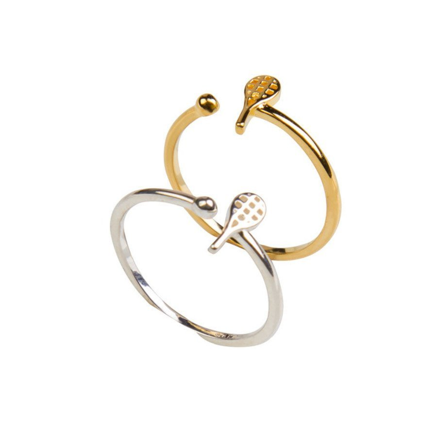 Tennis Ring in Sterling Silver and Gold-Plated over Sterling Silver