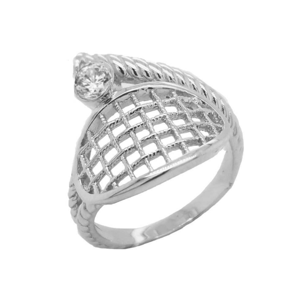 Tennis Ring in Sterling Silver with 1 CZ Stone