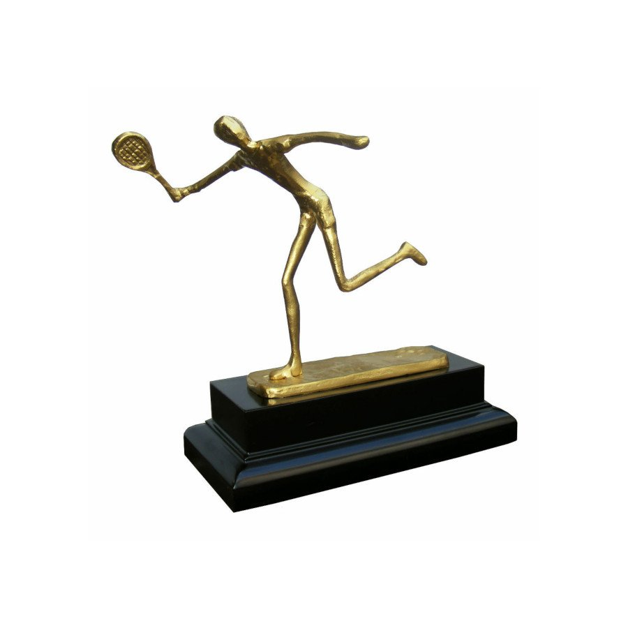 Tennis Trophy Award with Male Figure on Wooden Base and Personalized Engraving