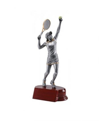 Tennis Trophy with Resin Female Figure