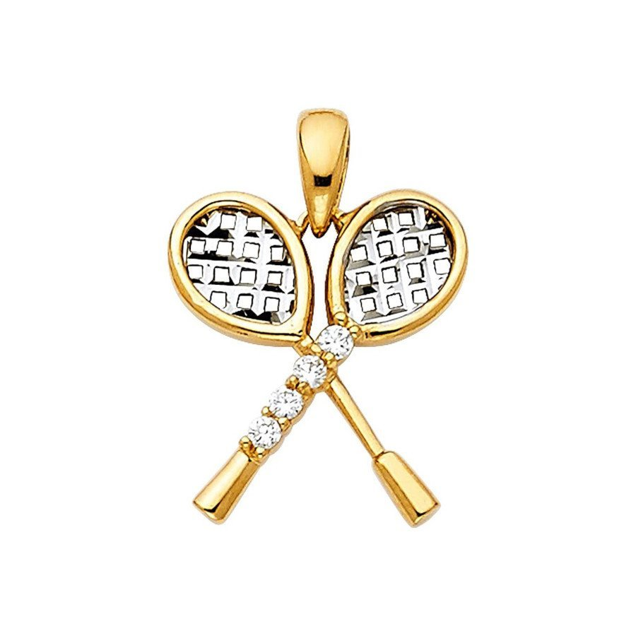 Tennis jewelry consisting of 14-karat real gold pendant with two rackets