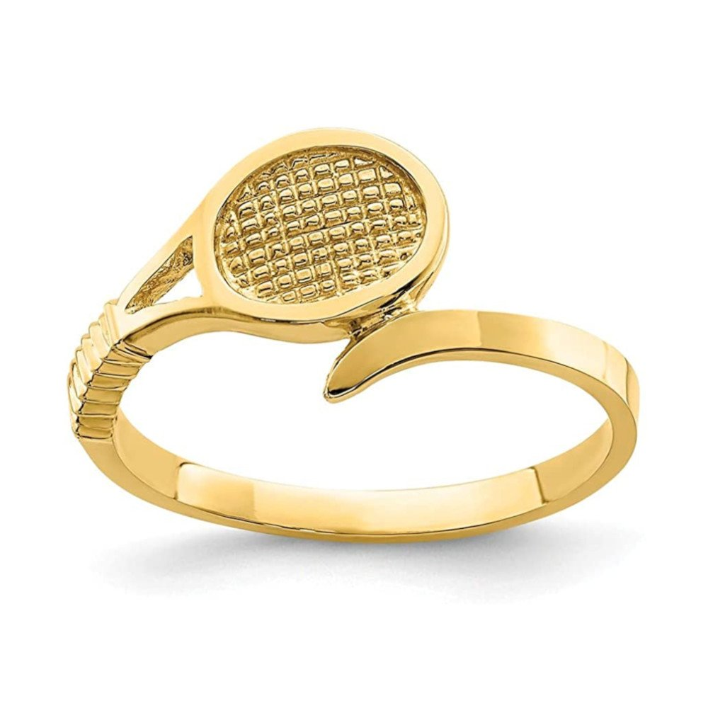 Tennis jewelry consisting of 14-karat yellow gold tennis racket ring