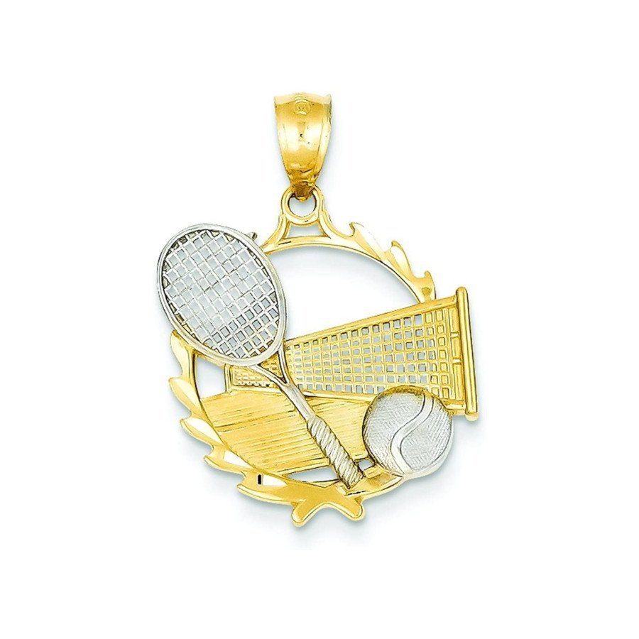 Tennis jewelry consisting of 14K two-tone gold tennis racket, ball & court charm