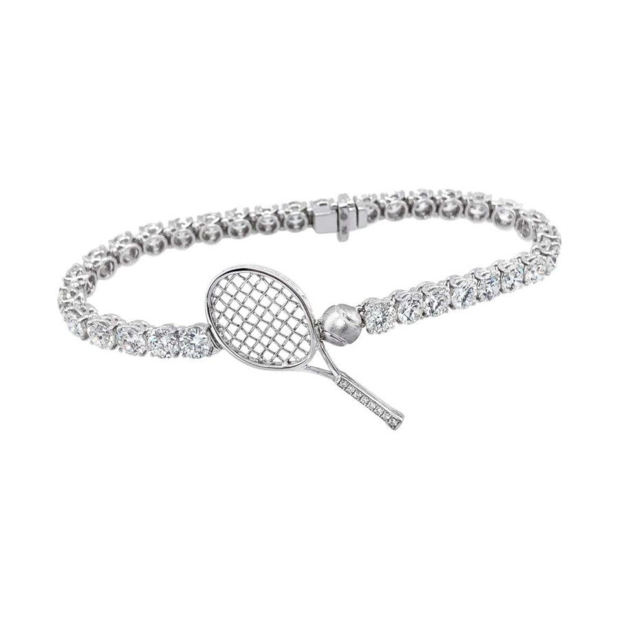Tennis jewelry consisting of diamond tennis bracelet (Let's Play Tennis) - 18 Karat Gold