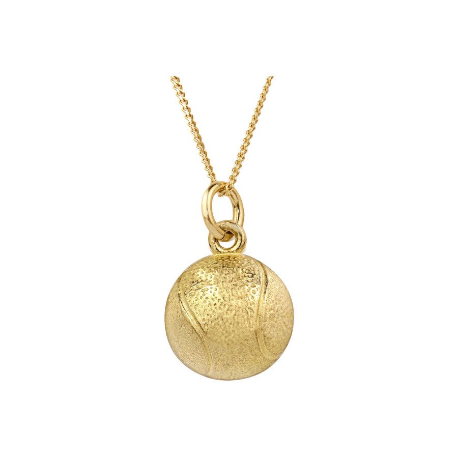 Tennis jewelry consisting of necklace with 10K yellow gold tennis ball