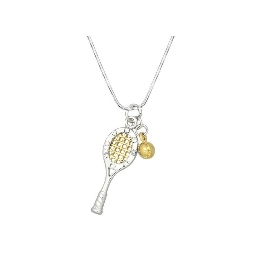 Tennis jewelry consisting of necklace with racket & ball charm pendant + sparkling crystal & 17 chain