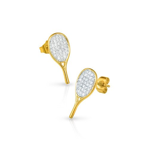 Tennis jewelry consisting of racket-shaped 18K gold earrings with 62 small diamonds