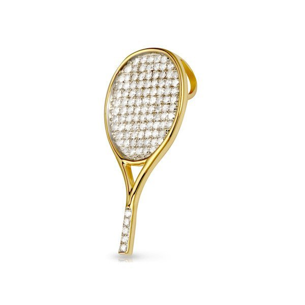 Tennis jewelry consisting of racket-shaped 18K yellow gold pendant with 101 small diamonds