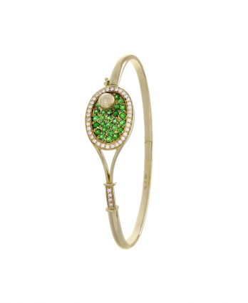 Tennis jewelry consisting of racket-shaped bracelet & tennis ball (18K solid yellow gold with 25 tsavorite gemstones and 40 diamonds)