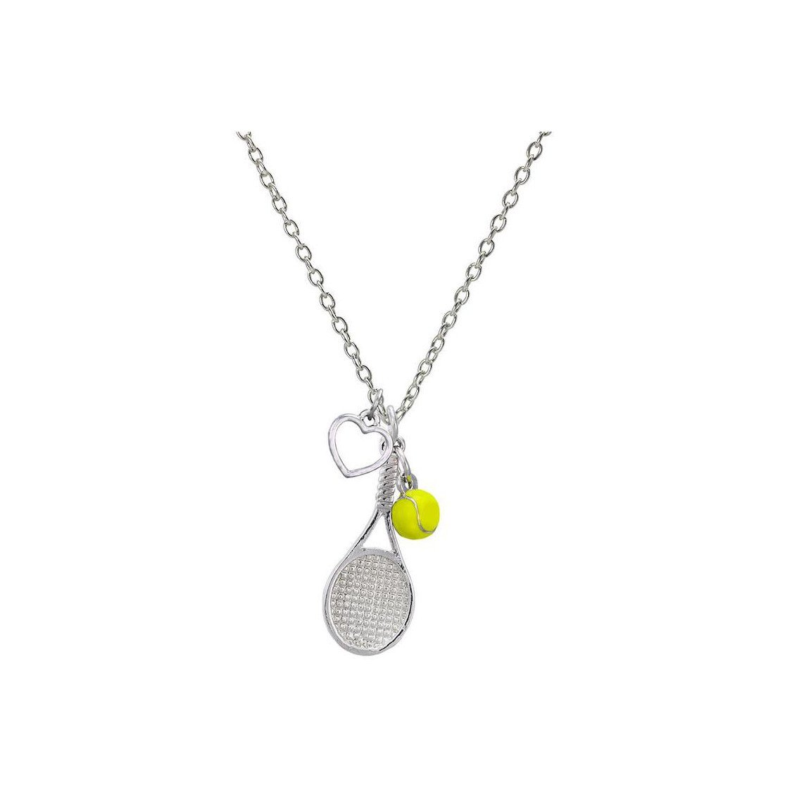 Tennis jewelry consisting of tennis necklace with racket, heart & tennis ball