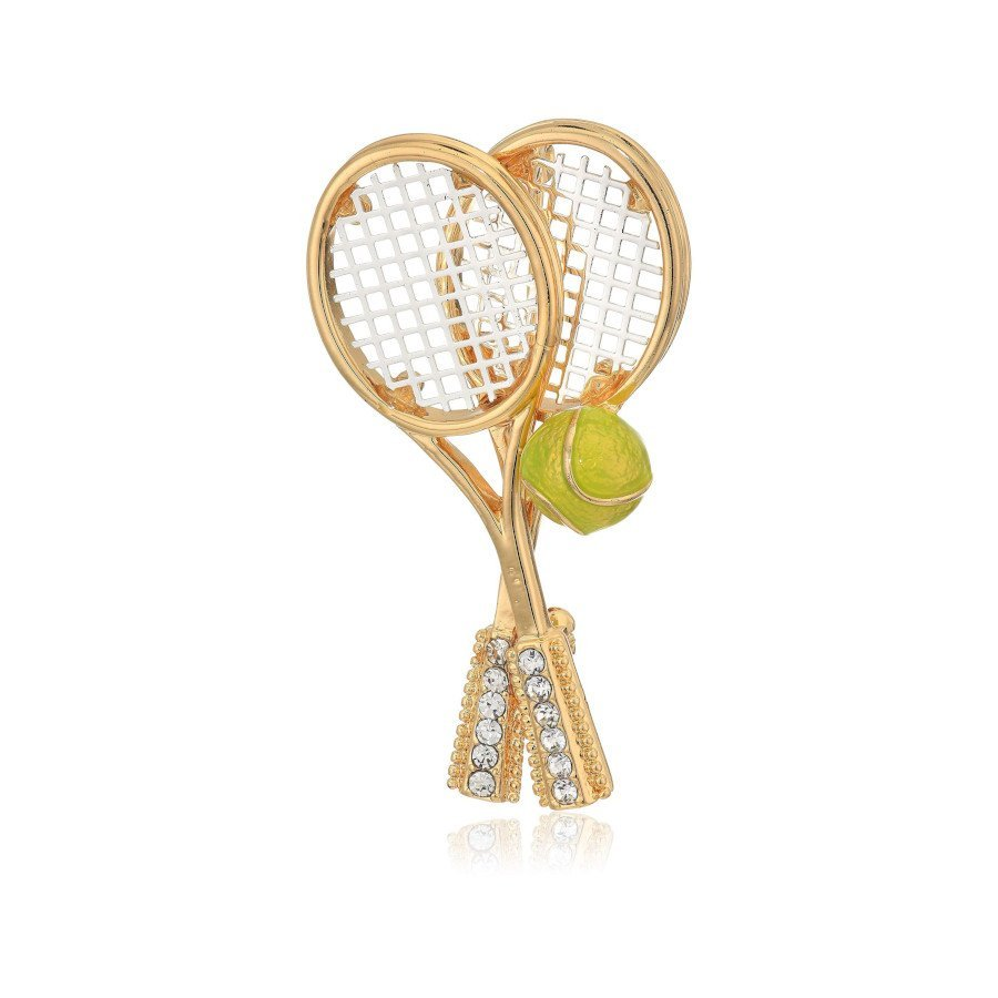 Tennis jewelry consisting of tennis racket brooches and pins