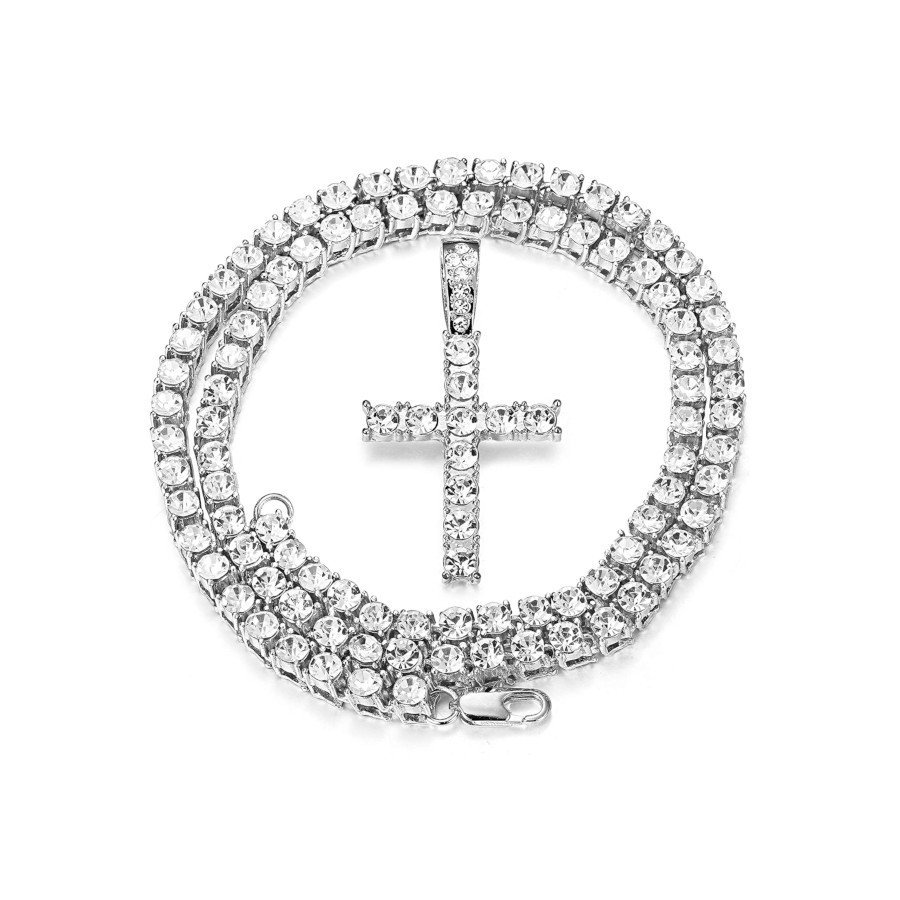 Unisex Iced Out Diamond Tennis Chain – 18K Platinum-Plated with CZ Pendant